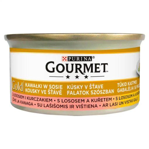 GOURMET GOLD Lazaccal és csirkével szószban nedves macskaeledel 85g