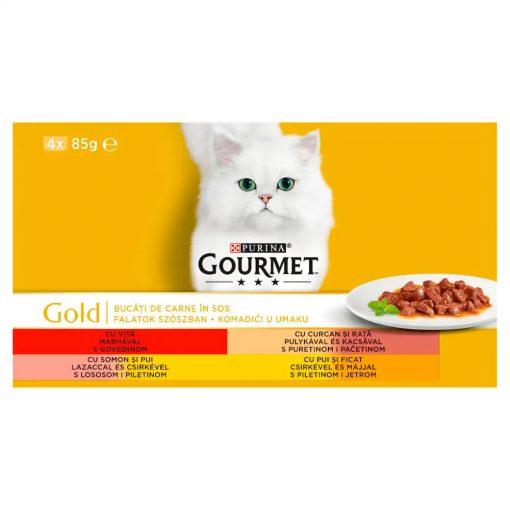 GOURMET GOLD Falatok szószban nedves macskaeledel 4x85g