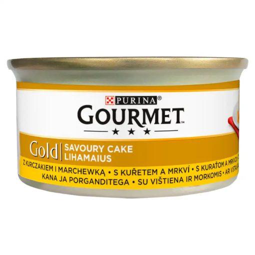 GOURMET GOLD Savoury Cake Csirkével és sárgarépával nedves macskaeledel 85g