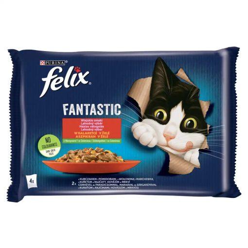 FELIX FANTASTIC Házias Válogatás - Csirkével és paradicsommal/Marhával és sárgarépával aszpikban macskaeledel 4x85g