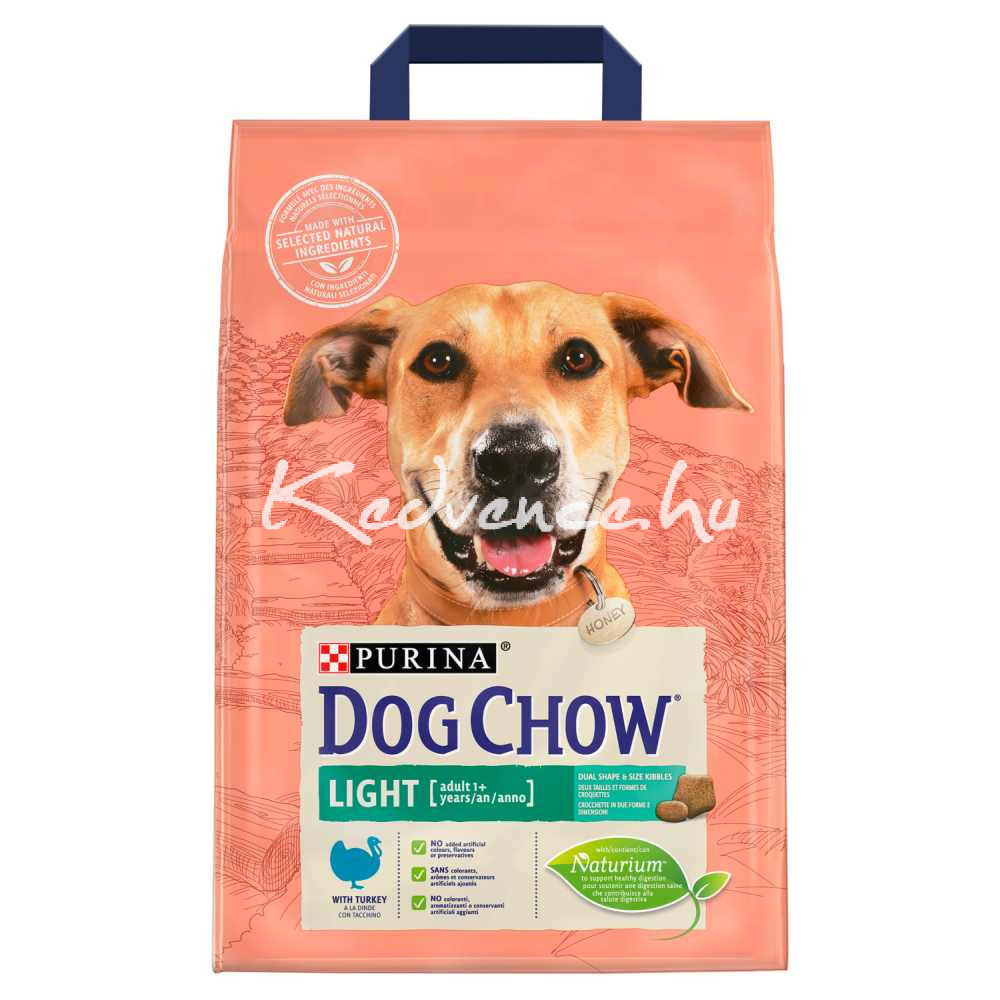 DOG CHOW Light Pulykával száraz kutyaeledel 2,5kg